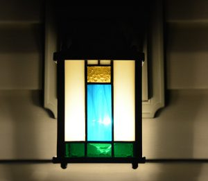 Front view of stained-glass inserts for exterior light