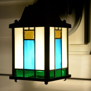 Another view of exterior lantern with stained-glass inserts