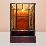 Front view of stained-glass votive candle holder
