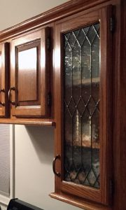 Another view of the kitchen cabinet stained-glass in place
